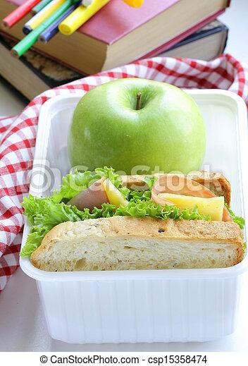 sandwich with ham, green salad - csp15358474