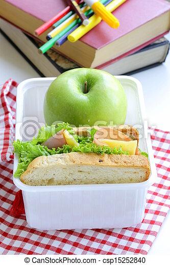 sandwich with ham, green salad - csp15252840