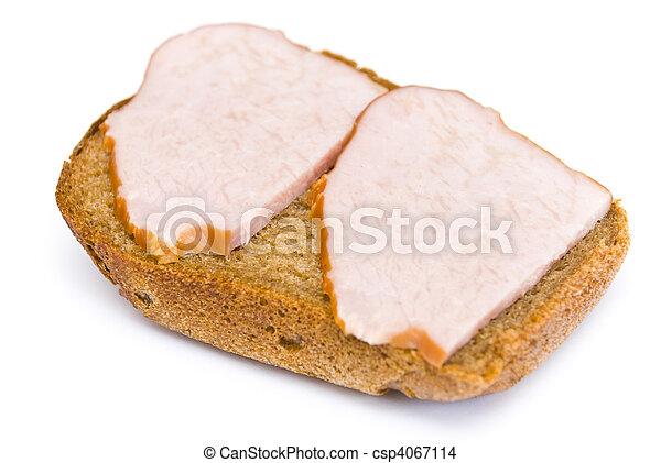 sandwich with ham on a white - csp4067114