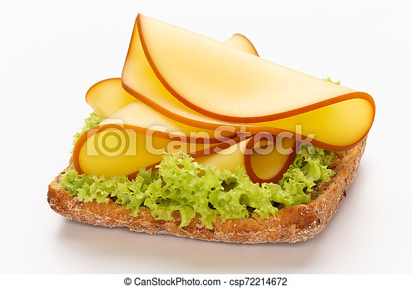Sandwich with lettuce, cheese on white background. - csp72214672