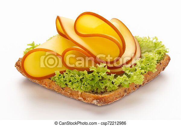 Sandwich with lettuce, cheese on white background. - csp72212986