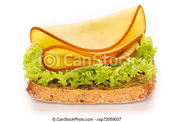 Sandwich with lettuce, cheese on white background. - csp72059037