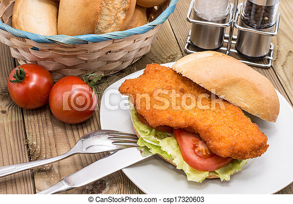 Sandwich with Meat on a plate - csp17320603