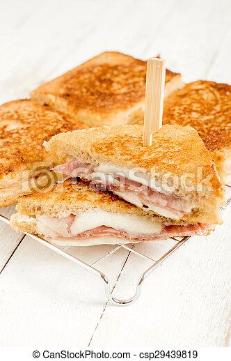 Sandwich with mozzarella and prosciutto - csp29439819