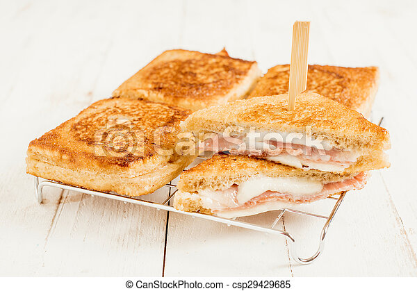 Sandwich with mozzarella and prosciutto - csp29429685