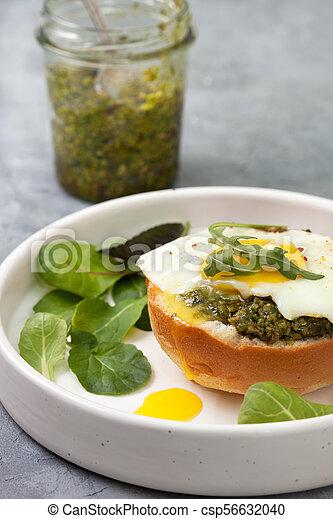 sandwich with pesto, egg - csp56632040