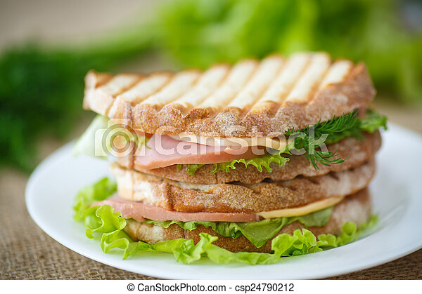 sandwich with sausage, cheese and herbs - csp24790212