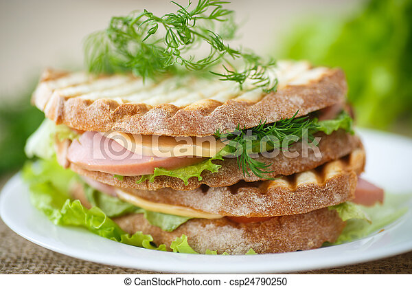 sandwich with sausage, cheese and herbs - csp24790250