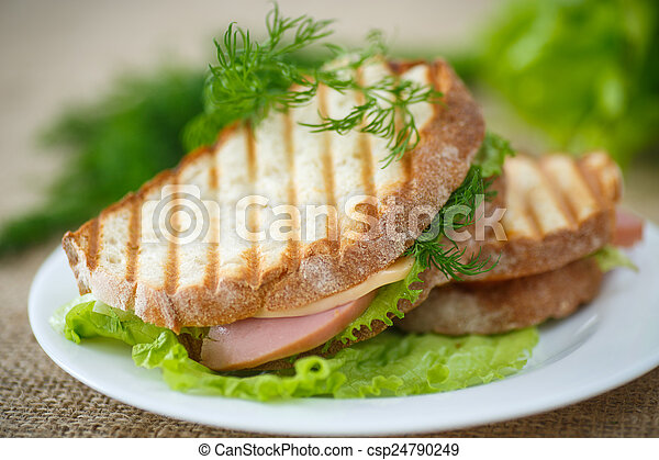 sandwich with sausage, cheese and herbs - csp24790249