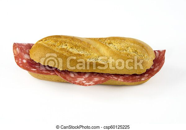 Sandwich with sausage on white background - csp60125225