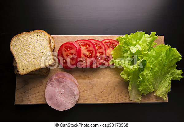 sandwich with tomato cheese and ham - csp30170368