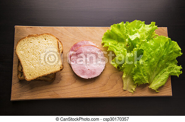 sandwich with tomato cheese and ham - csp30170357