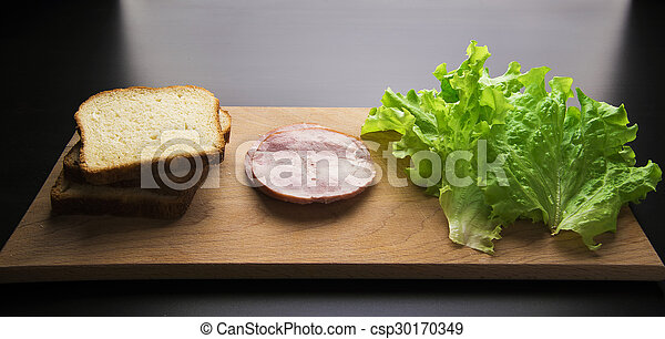 sandwich with tomato cheese and ham - csp30170349