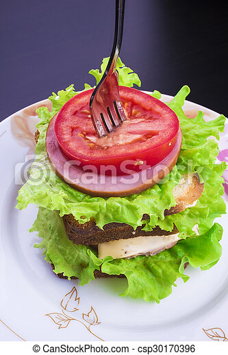 sandwich with tomato cheese and ham - csp30170396