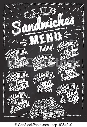 Sandwiches Menu Chalk Sandwiches Menu The Names Of