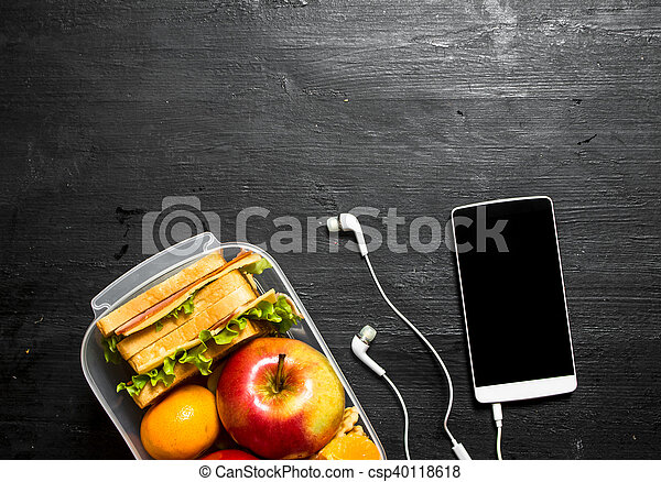 Sandwiches with cheese and bacon - csp40118618