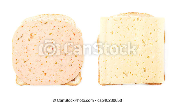 Sandwiches with cheese and ham over white isolated background - csp40238658