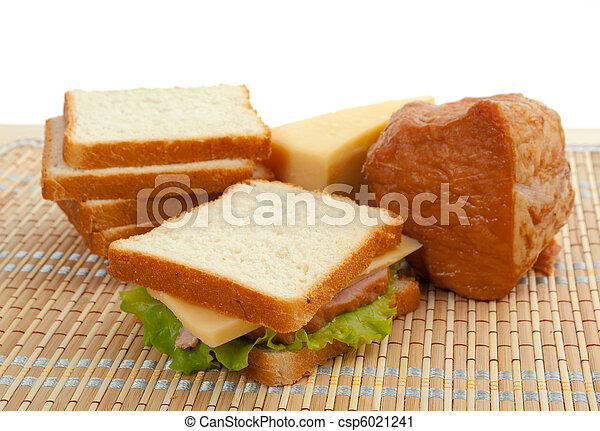 sandwiches with cheese and ham . - csp6021241