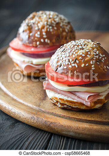 Sandwiches with cheese and ham - csp58665468