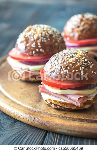 Sandwiches with cheese and ham - csp58665469