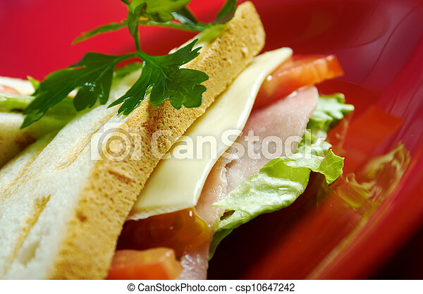 sandwiches with cheese and ham - csp10647242