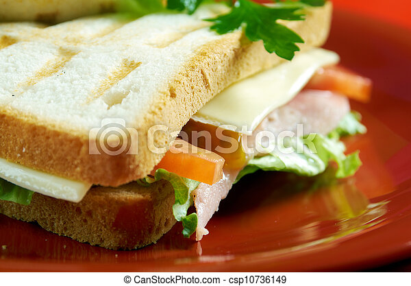 sandwiches with cheese and ham - csp10736149