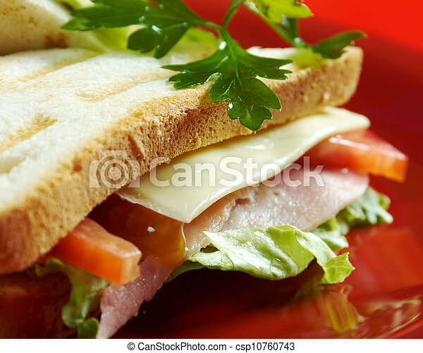 sandwiches with cheese and ham - csp10760743