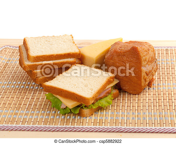 sandwiches with cheese and ham . - csp5882922