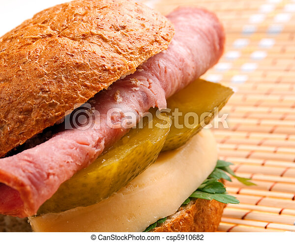 sandwiches with cheese and ham - csp5910682