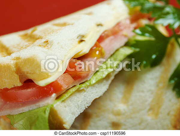 sandwiches with cheese and ham - csp11190596