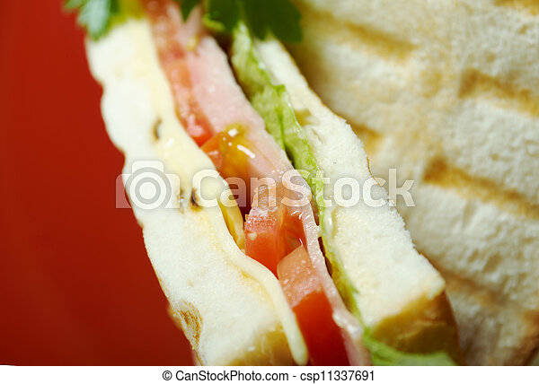sandwiches with cheese and ham - csp11337691
