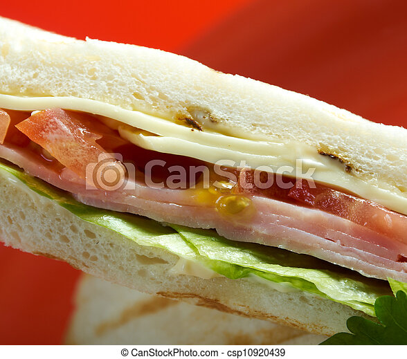 sandwiches with cheese and ham - csp10920439