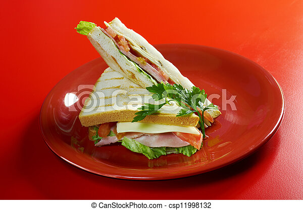 sandwiches with cheese and ham - csp11998132