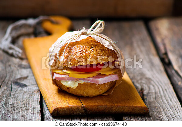 sandwiches with ham and cheese - csp33674140