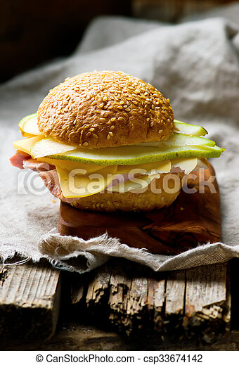 sandwiches with ham and cheese - csp33674142