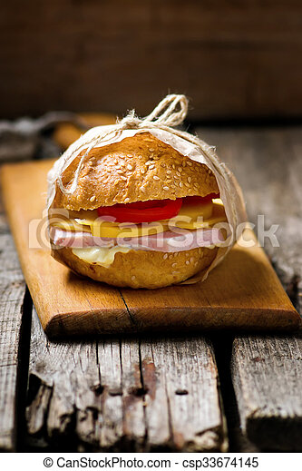 sandwiches with ham and cheese - csp33674145