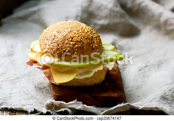 sandwiches with ham and cheese - csp33674147
