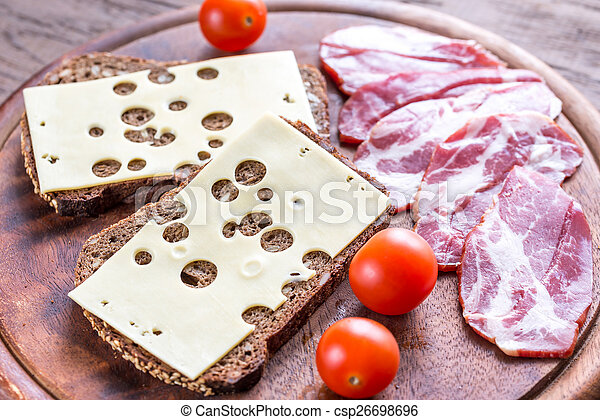 Sandwiches with ham and cheese - csp26698696