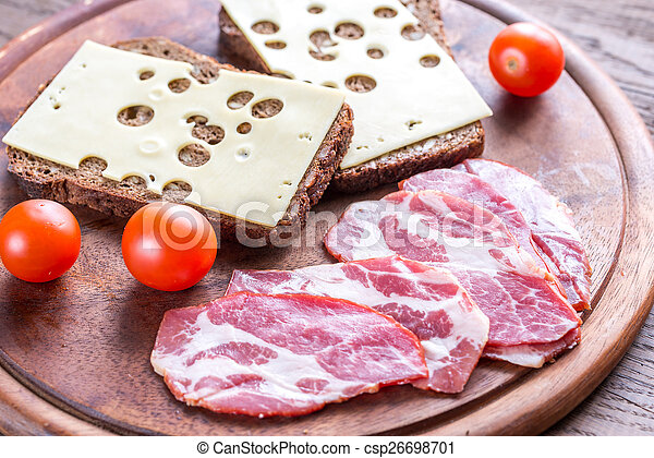 Sandwiches with ham and cheese - csp26698701