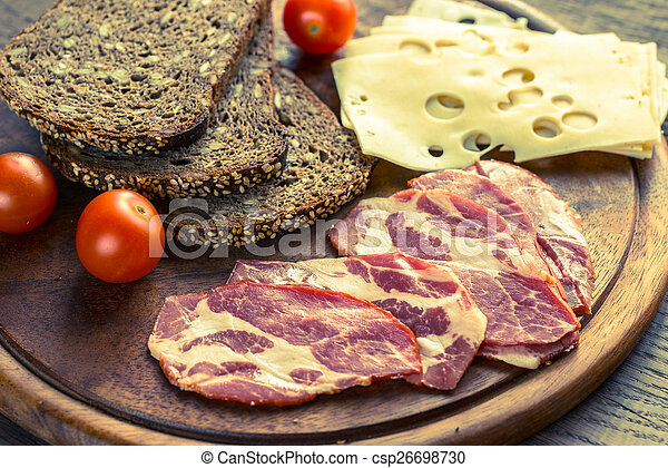 Sandwiches with ham and cheese - csp26698730