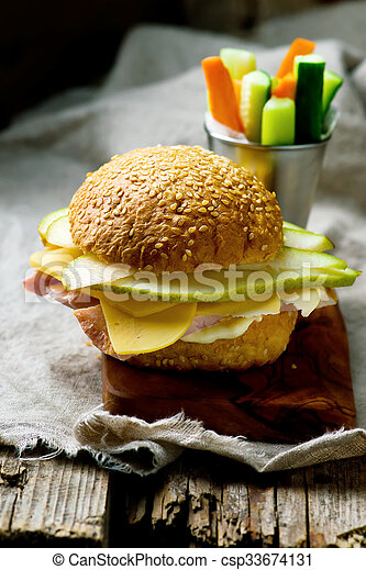 sandwiches with ham and cheese - csp33674131