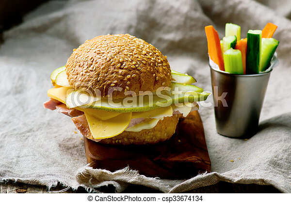 sandwiches with ham and cheese - csp33674134