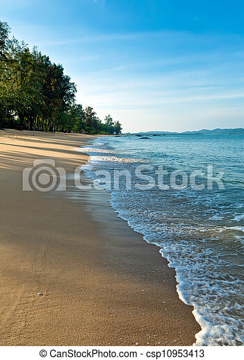Sandy beach in the early morning - csp10953413