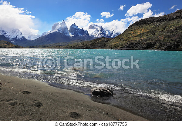 Sandy Beach Lake Pehoe - csp18777755