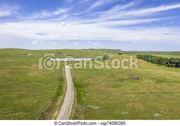 sandy ranch road in Nebraska Sandhills, - csp74080393