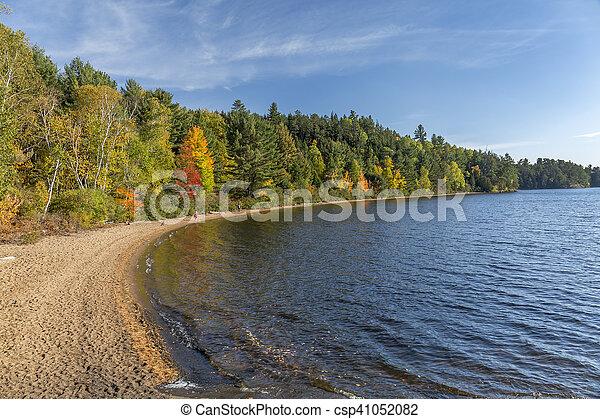 Sandy Shoreline of a Lake in Autumn - Ontario, Canada - csp41052082