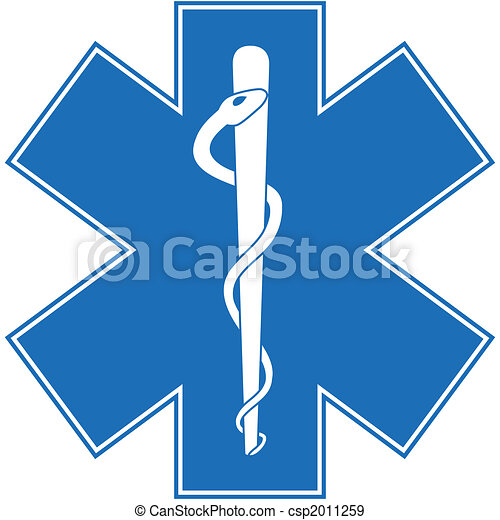 Sanitäter, caduceus. Blaues, personal, symbol, böse form,... Stock ... | {Sanitäter symbol 37}
