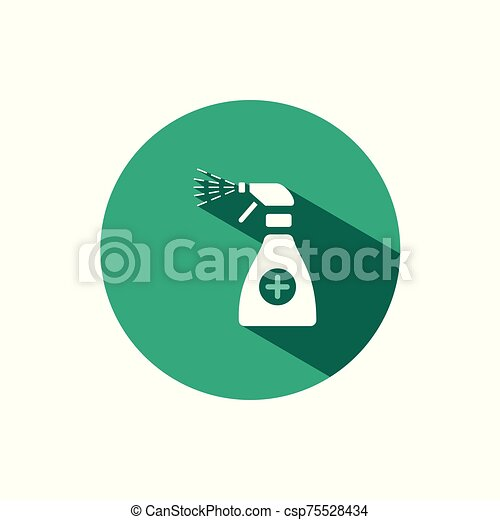Sanitizer spray icon with shadow on a green circle. Vector pharmacy illustration - csp75528434