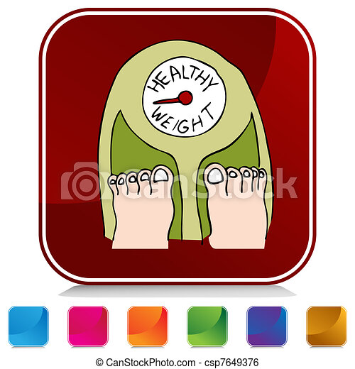 Botón saludable a escala de peso - csp7649376