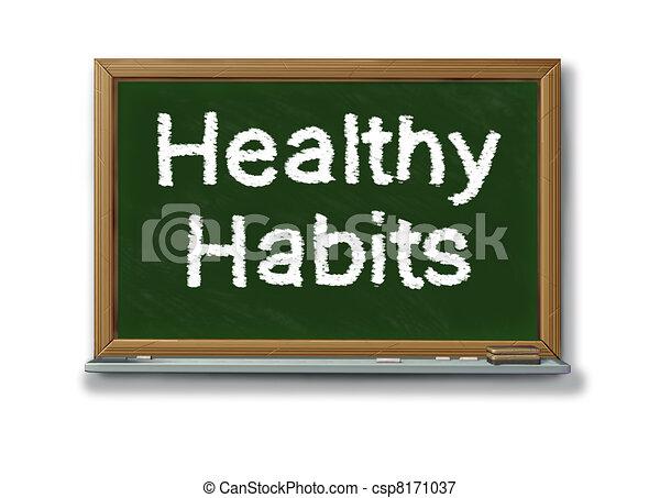 Hábitos saludables en una pizarra negra escolar - csp8171037